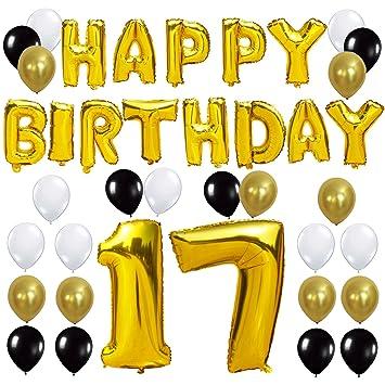 Amazoncom Kungyo 17th Birthday Party Decorations Kit Happy