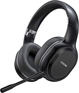 COOSII Bluetooth Headphones Wireless with Noise Cancelling Dual Microphone for Home Office Online Class, Over Ear Soft Ear Cups Stereo Headsets, 40H Playtime for Laptop Chromebook CellPhone Skype Zoom