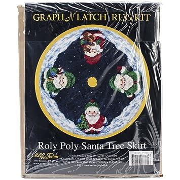 MCG Textiles 37785 Latch Hook Kit 45 Inch Round Roly Poly Santa