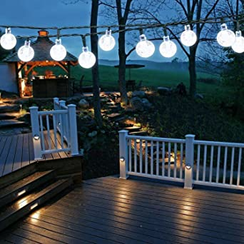 Solar Garden Lights Outdoor 50 Led 7m 24ft Solar String Lights Waterproof 8 Modes Indoor Outdoor Fairy Lights Globe For Garden Patio Yard Home Party Wedding Festival Decoration Clear White Amazon Co Uk Lighting