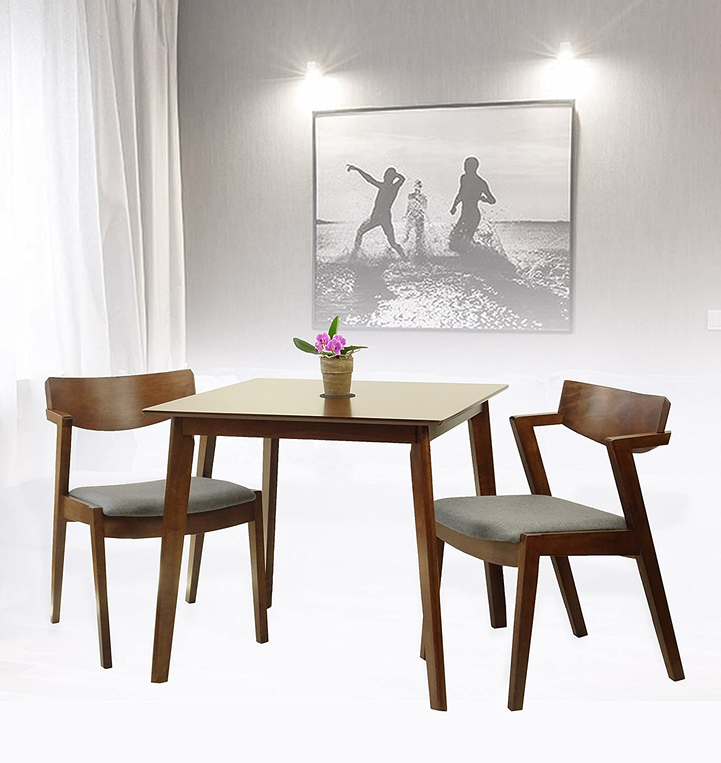 Rattan Wicker Furniture Set of 3 Dining Kitchen Square Table and 2 Tracy Armchairs Solid Wood w/Padded Seat Medium Brown Finish
