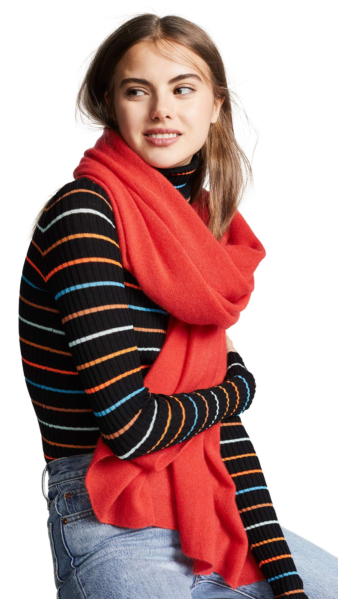 White + Warren Women's Cashmere Travel Wrap Scarf, Chili Red Heather, One Size