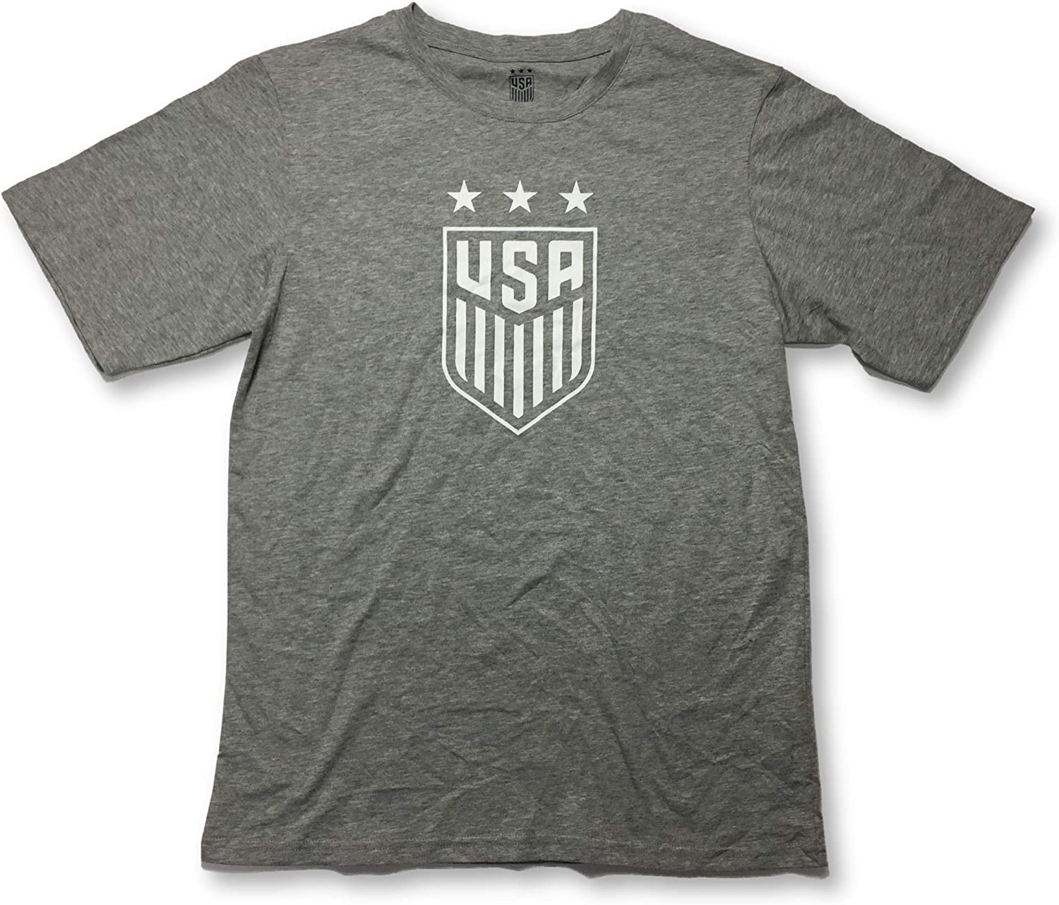 Icon Sports USA US National Team Soccer Crest Crew Neck Gray Adult T-Shirt