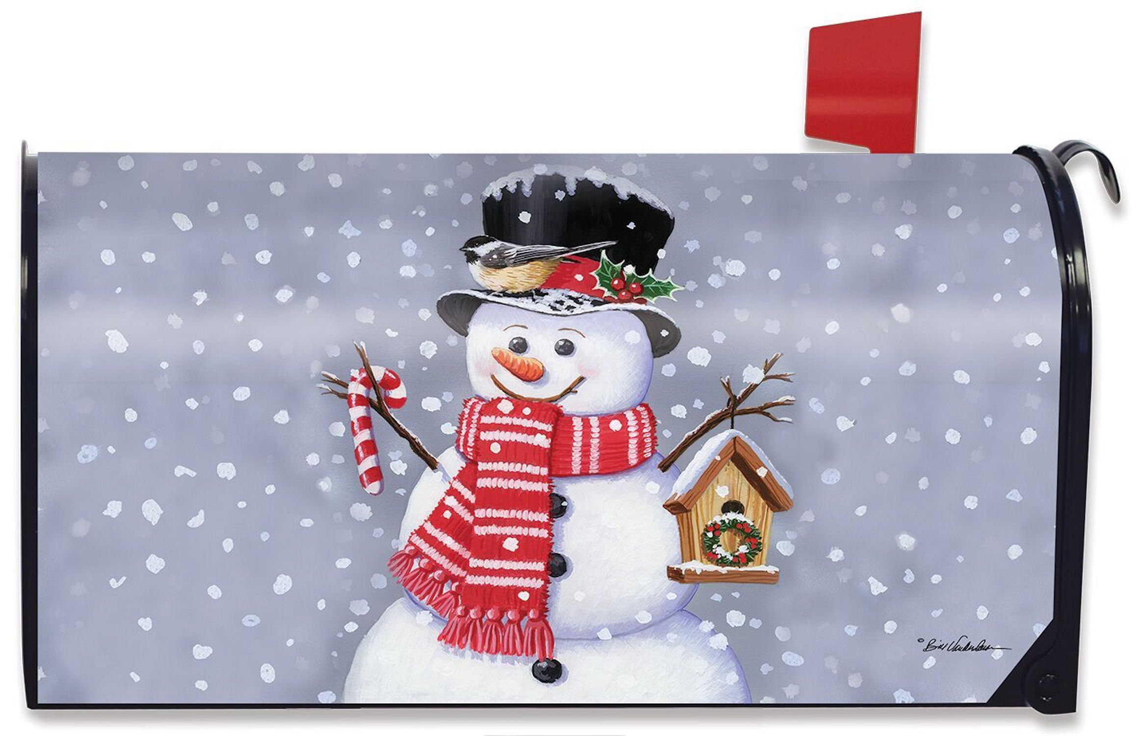 Briarwood Lane Snowman Birdhouse Magnetic Mailbox Cover Christmas Candy Cane