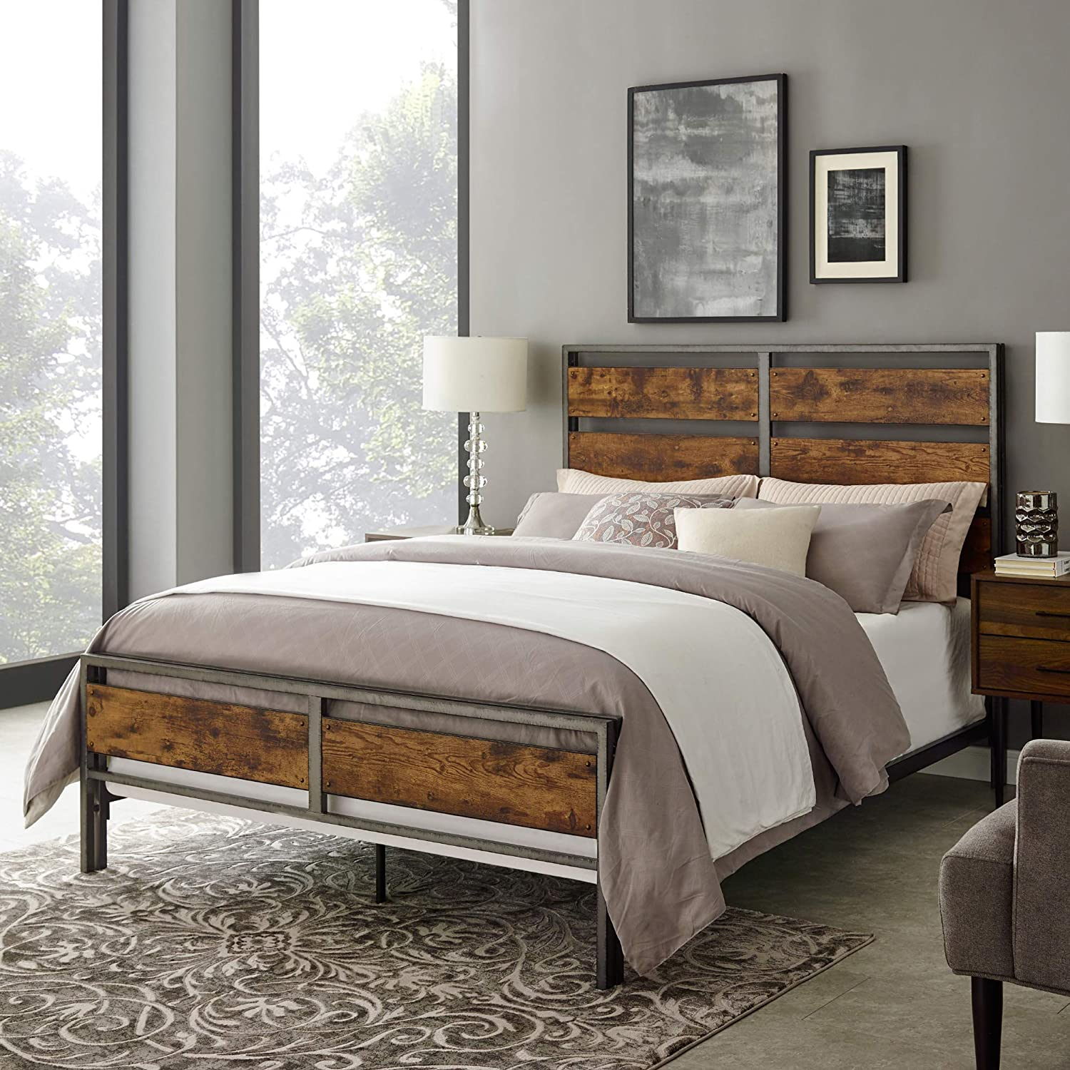 WE Furniture AZQSLRW Wood Plank Metal Queen Size Bed Frame Bedroom, Queen,  Brown Reclaimed Wood