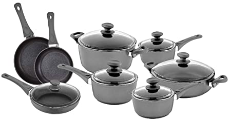 Saflon Titanium Nonstick 14-Piece Cookware Set 4mm Forged Aluminum with PFOA Free Scratch-Resistant Coating from England, Dishwasher Safe