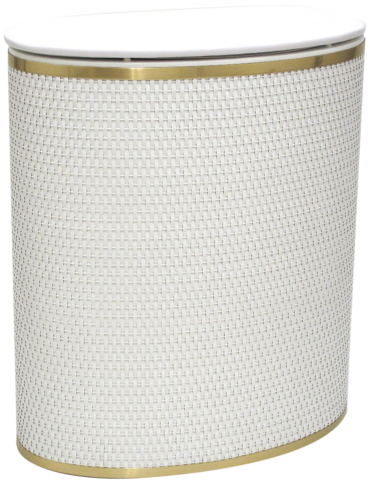 Redmon Capri Classic Bowed Front Hamper, White/Gold - Oval shaped wicker hamper with matching vinyl lid Brush metallic trim around top and bottom Quality materials and construction, made in 100Percent in usa - laundry-room, hampers-baskets, entryway-laundry-room - 81vqVDtJIUL -