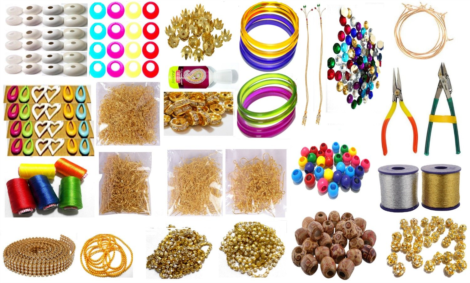 Goelx Silk Thread Jewellery Making Kit - 50 Pairs Jhumka Earring Base With Bali Ring, Jewellery Making Materials - 26 Items
