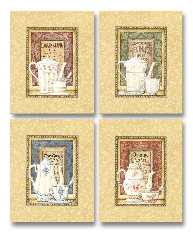 Amazon.com: Tea Time! Lovely, Vintage Teapot and Teacup Set; Kitchen ...
