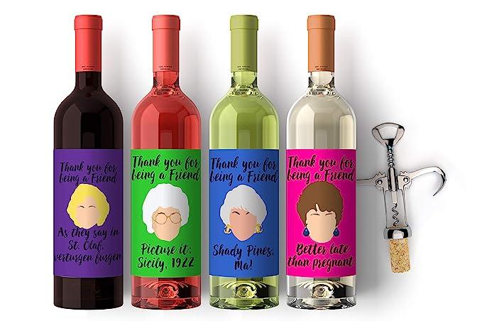 Amazon.com | Wine Labels Golden Girls Set 4, Custom Birthday Friends Labels-Tv Show Theme Wine Labels Celebration Gift: Bar Tools & Drinkware