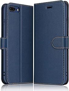 ELESNOW Funda iPhone 7 Plus / 8 Plus, Cuero Premium Flip Folio Carcasa Case para iPhone 7 Plus / 8 Plus (Azul Marino)