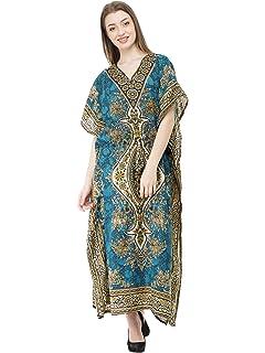c96c46dd56 SKAVIJ Kaftan Dresses V - Neck Caftan Plus Size Long Nightgown Cover Up for  Womens Grey