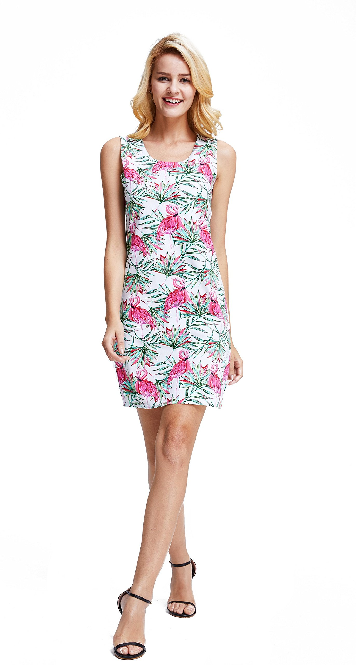 Hawaii Hangover Women's Tank Fit Dress Pink & Green Palms Flamingo in Love M