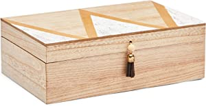 Decorative Box with Lid and Tassel, Wooden Jewelry Storage (9.5 x 6 x 3 In)