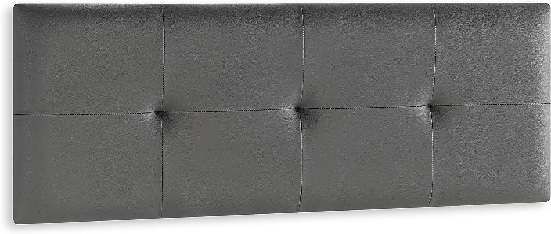 DISTRIGAL, S.L. HomeSouth - Cabecero Cama Matrimonio tapizado en símil Piel Color Grafito, Cabezal Modelo Deva, Medidas: 159,5 cm (Largo) x 49,5 cm (Alto) x 3,5 cm (Fondo)
