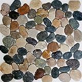 Mosaik Netzwerk Mosaikfliese Kiesel Flach Mix Beige/grau/schwarz Flußkiesel  Steinkiesel Flussstein Kieselmosaik