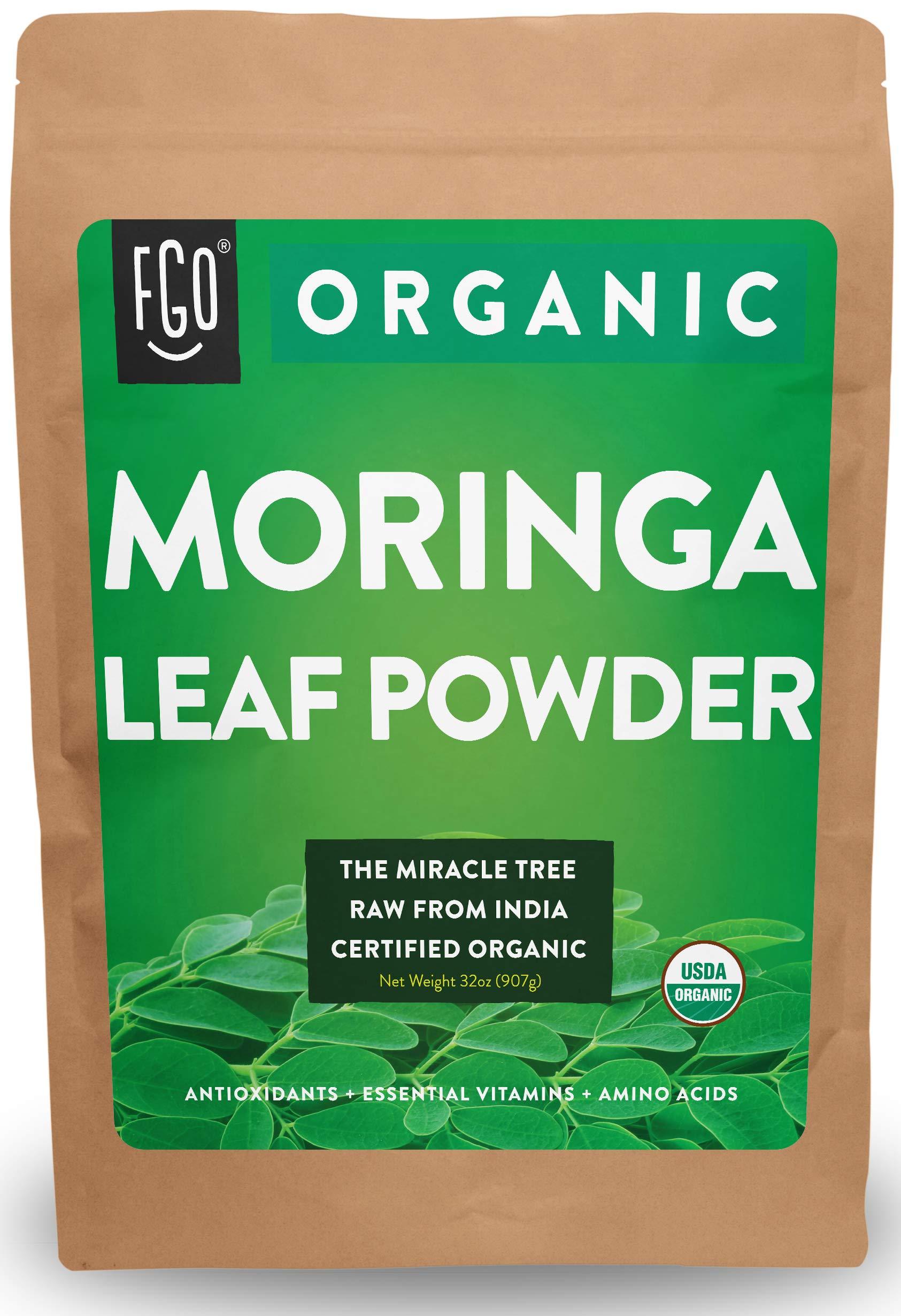 Organic Moringa Oleifera Leaf Powder - Perfect for Smoothies, Drinks, Tea & Recipes - 100% Raw From India - 32oz/907g Resealable Bag - by Feel Good Organics by Feel Good Organics