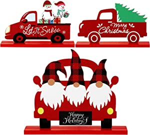 3 Pieces Christmas Table Decorations Signs Truck Santa Snowman Christmas Tree Wooden Table Decorations Xmas Table Signs for Holidays Christmas Dinner Party Coffee Table