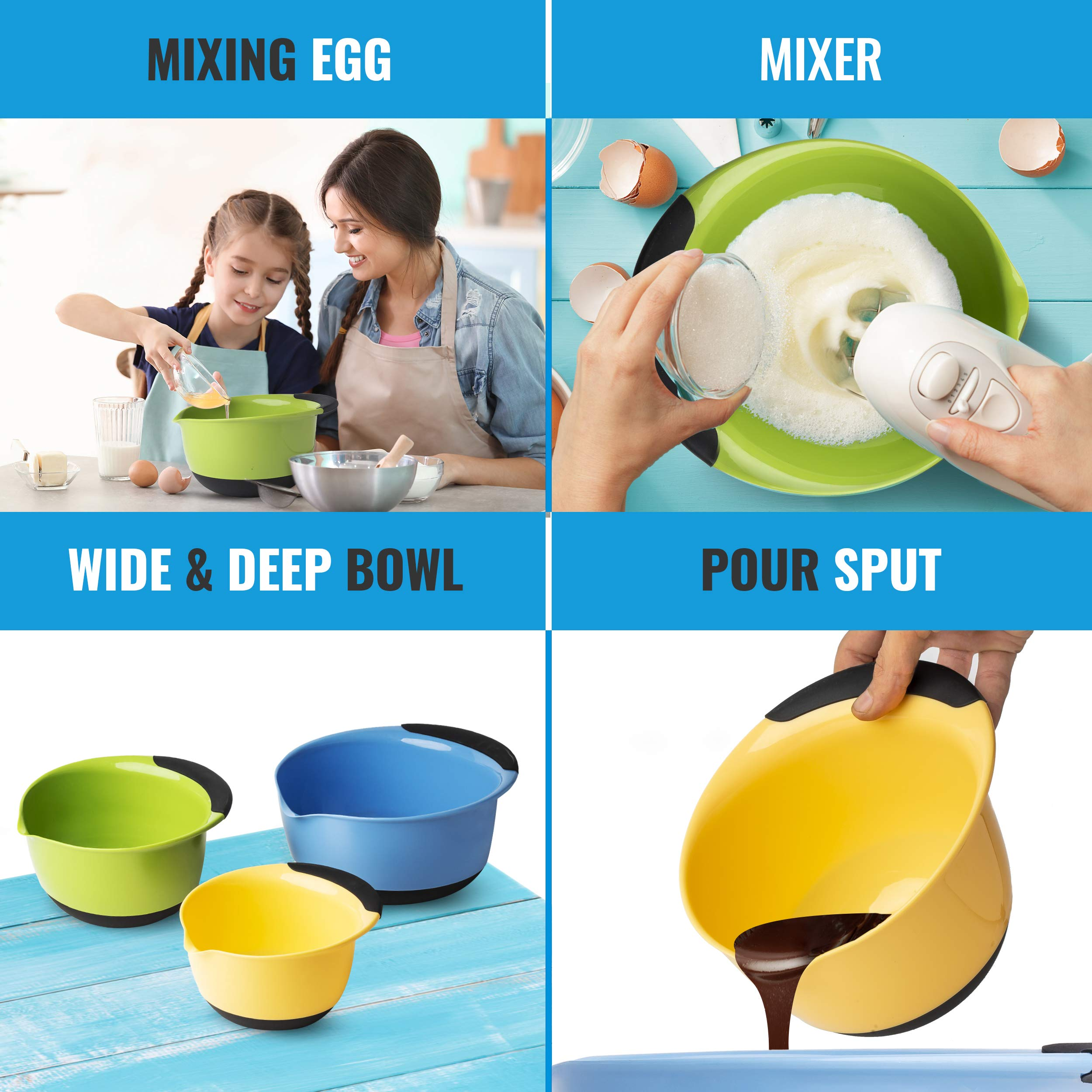 Premium Plastic Mixing Bowls (Set of 3) Sizes: 1.5, 3 & 5 QT - With Non Slip Bottom & Pouring Spout. For Healthy Cooking & Baking, Nesting and Stackable Free Bonus - measuring cup by MONKA (Image #2)