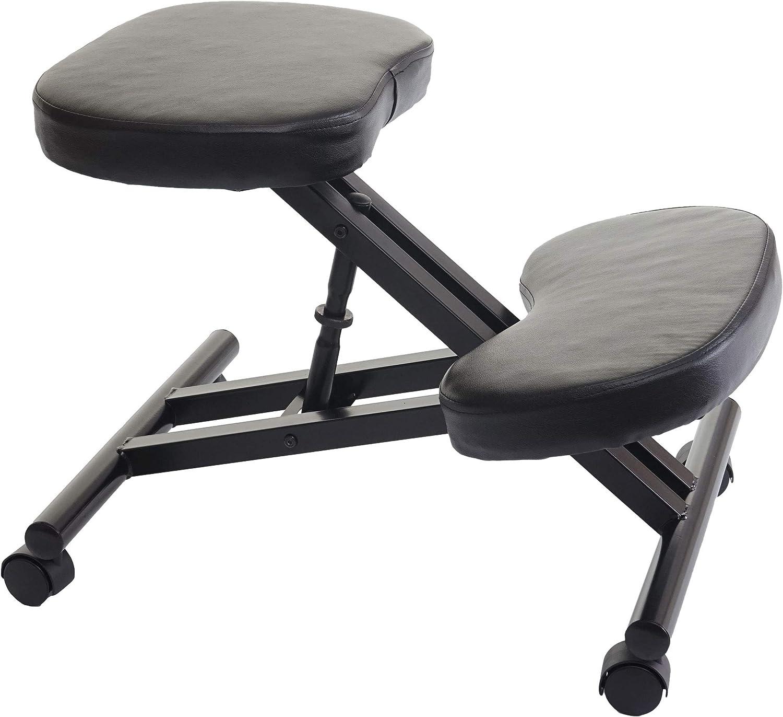 Mendler Sedia Sgabello posturale ergonomica HWC-E10 Ecopelle Nero