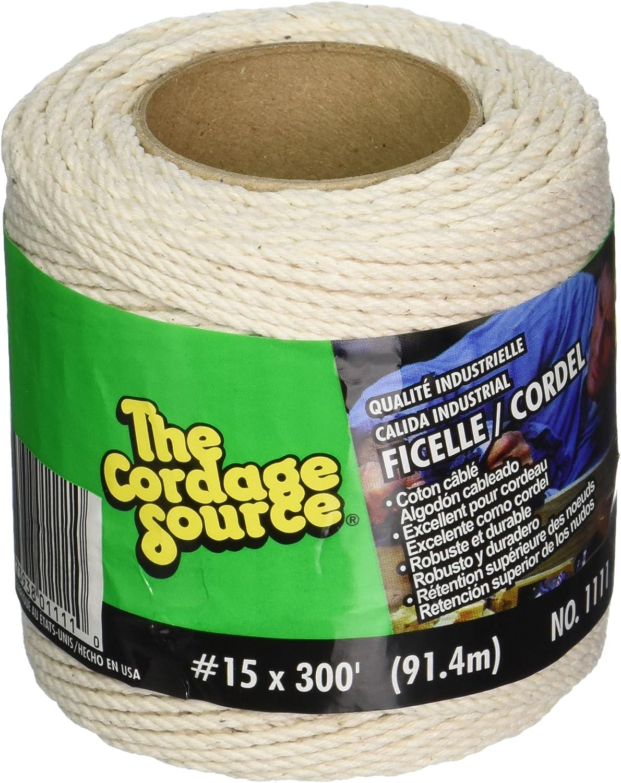 300-Feet HORIZON DISTRIBUTION 1111-WA Cordage Source 1111 No.15 Cotton Cable Cord