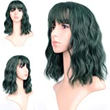 FAELBATY Wavy Wig Short Bob Green Wigs With Air Bangs Shoulder Length Women's Wig Curly Wavy Synthetic Cosplay Wig Geen…