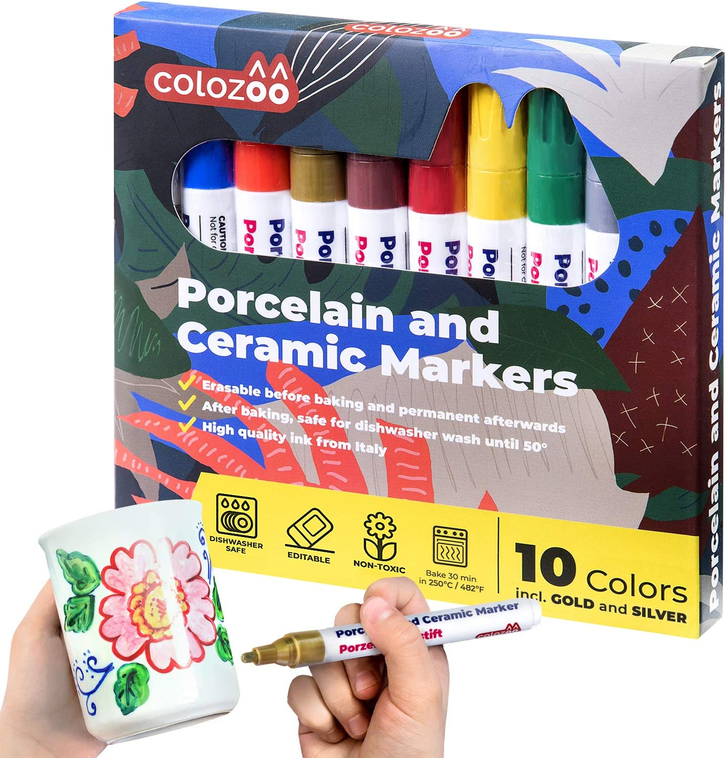 Colozoo Porcelain Markers Dishwasher Safe | 10 Bright Colors Ceramic Paint Pens Including Gold And Silver