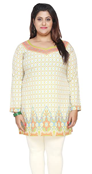 a3242e7f064 India Tunic Top Kurti Womens Printed Plus Size Indian Clothes (Green, XL)