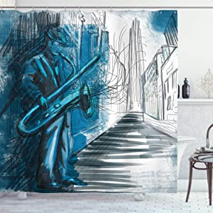 Ambesonne Jazz Music Decor Collection, Saxophone Man Playing Solo in the Street at Night Vibes Grunge Home Decor, Polyester Fabric Bathroom Shower Curtain, 84 Inches Extra Long, Dark Blue Black White