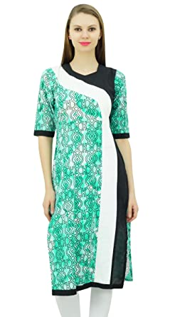 d0a43f2e1fd4c5 Bimba Womens Printed Cotton Kurta Kurti Long Tunic Indian Casual Wear 3/4  Sleeve Blouse