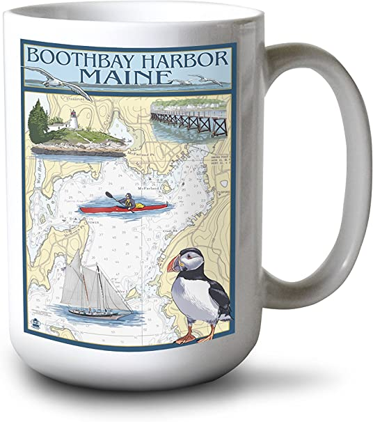 Puffin Ceramic Mug ~ Blue ~ Nautical ~ Sea ~ Birds ~ New