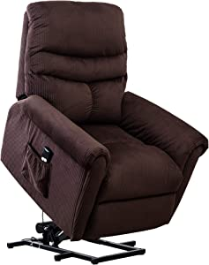Merax Electric Recliner Chair Lazy Boy Sofa for Elderly, Office or Living Room, Chocolate