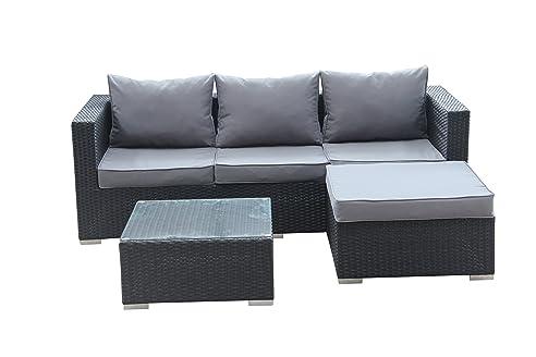 Lounge ecksofa  Amazon.de: 1PLUS Lounge-Ecksofa aus Polyrattan (schwarz) inkl ...
