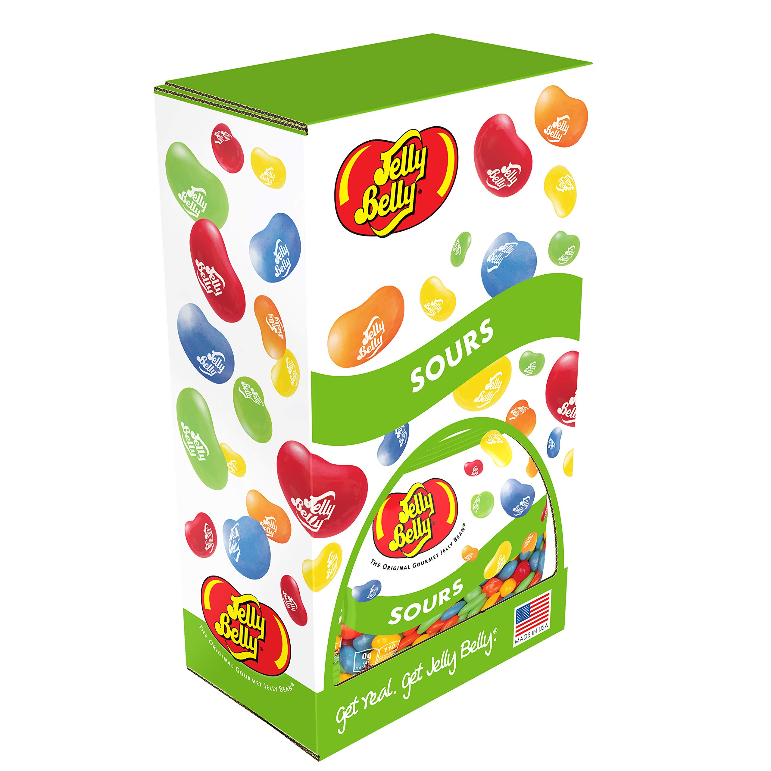 Jelly Belly Sours Jelly Beans, Sour Fruit Flavors, 3.5-oz, 12 Pack with Power Wing Display Caddy