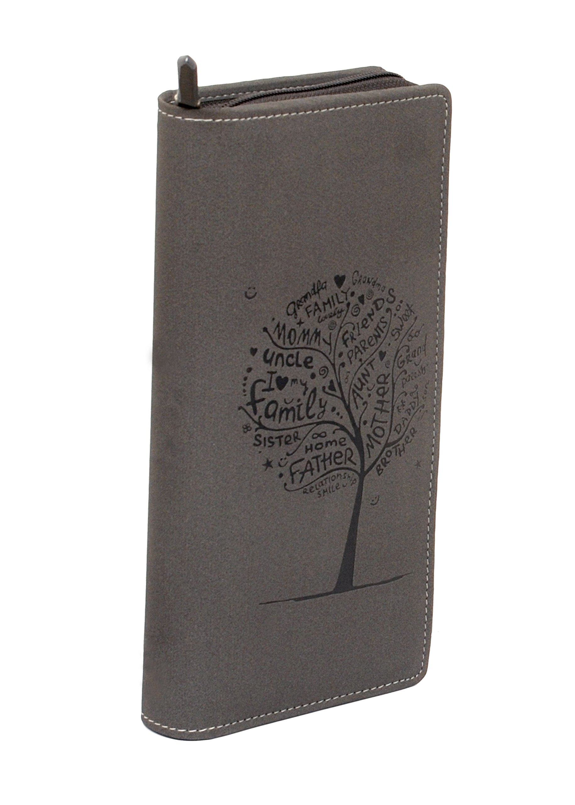 Sukeshcraft Tree. RFID Safe Passport Wallet- 8 Slots, (Steal Grey)