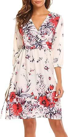 SE MIU Women Half Sleeve V Neck Floral Print Tie High Waist Casual Short Beach Party Dress
