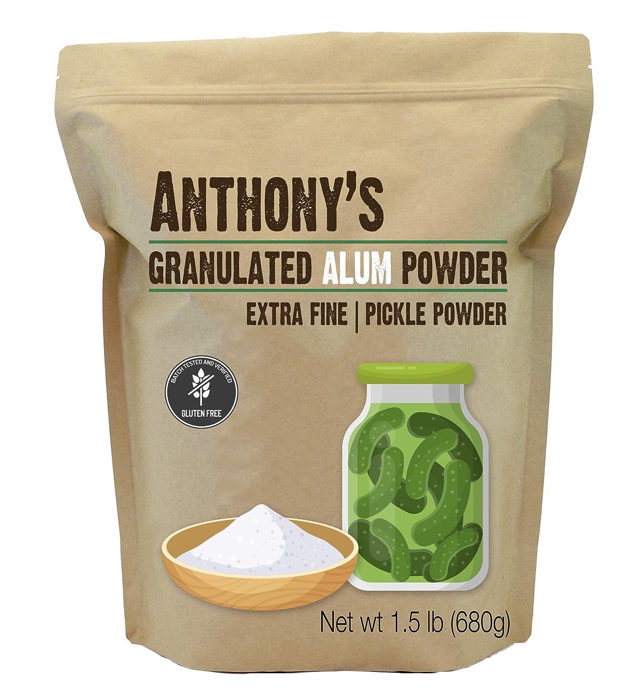 Anthony's Premium Alum Powder, 1.5 lb, Batch Tested & Verified Gluten Free, Granulated Pickle Powder
