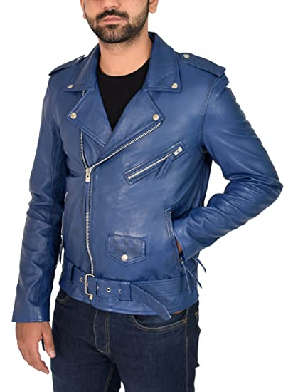 a7a8cafb1 Mens Blue Leather Biker Jacket Fitted with Belt Classic Retro Brando ...