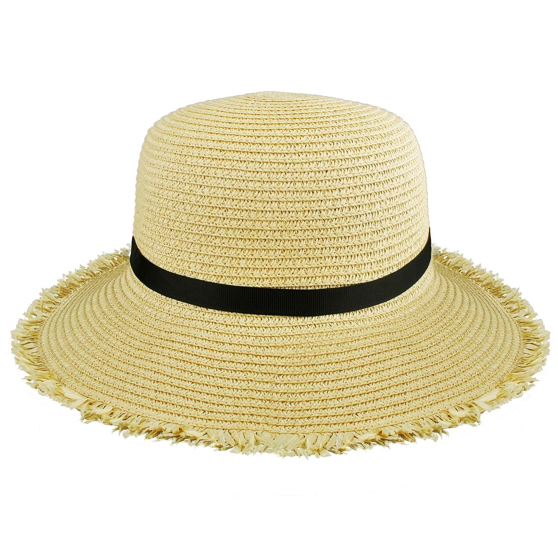 EINSKEY Strohhut Damen Sommer Strand Breite Krempe Sonnenhut UV Schutz Safari Hut Gartenhut 54-59 cm