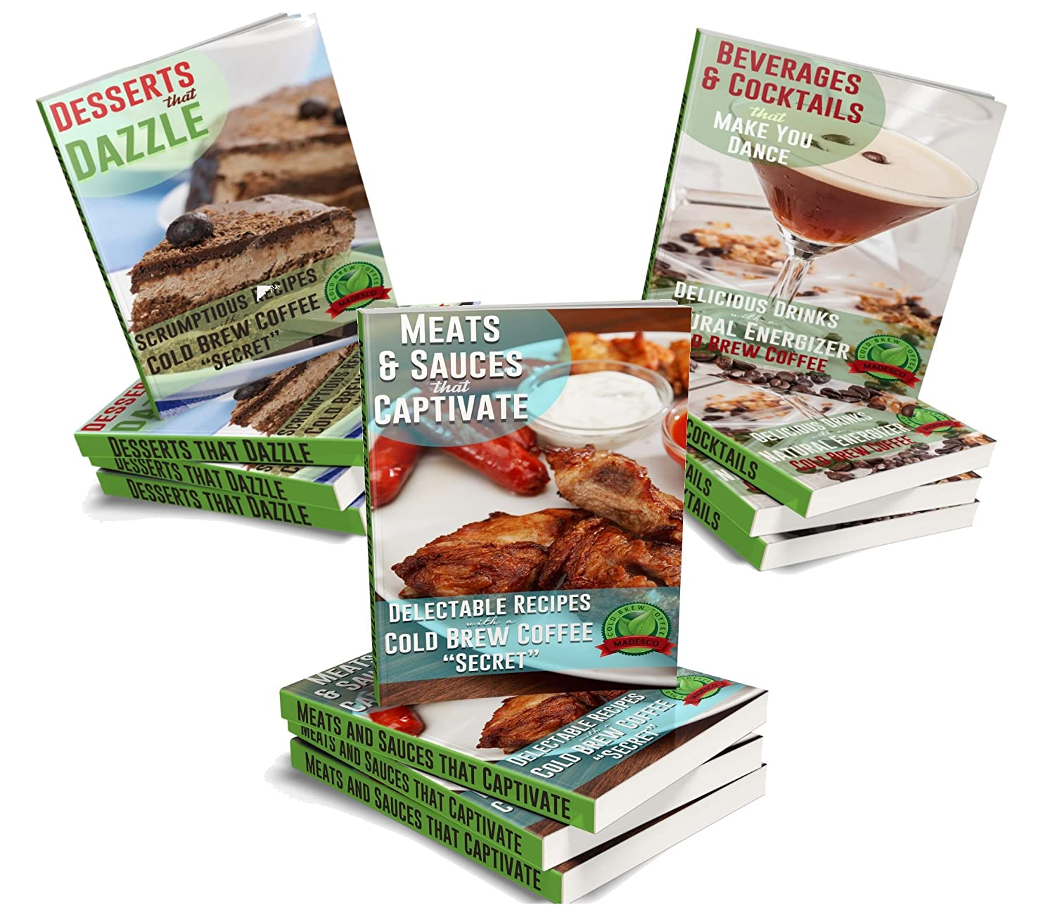 Cooking with Cold Brew Coffee downloadable eBooks and 3 Free Recipe Books Two One-Gallon Cold Brew Coffee Filter Pouches 2-pack