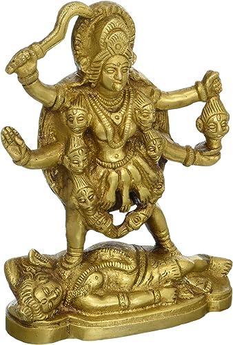Shalinindia Idol Puja Brass Statue Kali Ma Goddess for Hindu Temple Puja Mandir 6 Inch