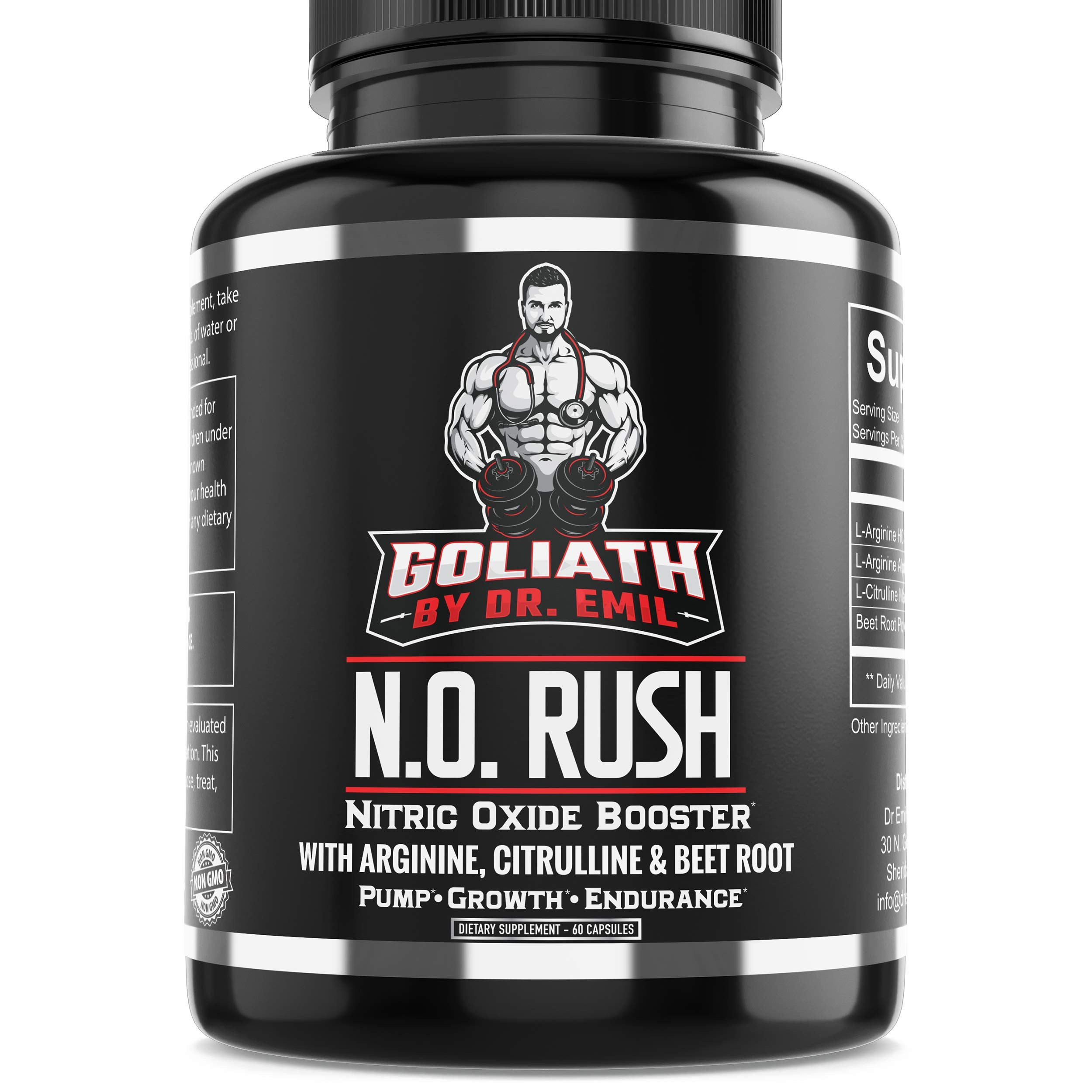 Dr. Emil - Nitric Oxide Supplement with L Arginine AKG, L Citrulline Malate and Beet Root - NO Booster for Muscle Growth, Vascularity and Endurance (120 Capsules) by DR EMIL NUTRITION
