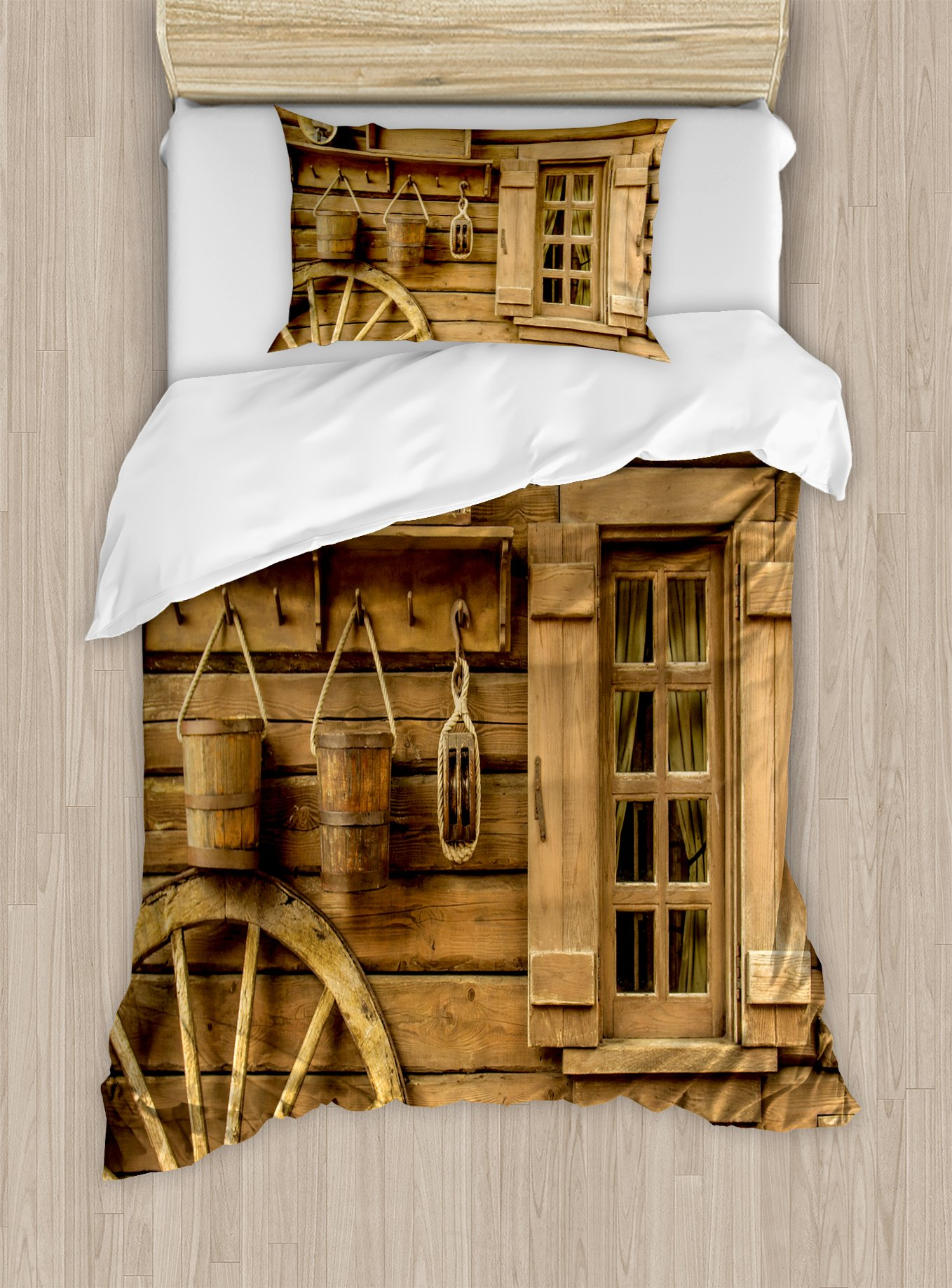 Western Decor Duvet Cover Set by Ambesonne, Wagon Wheel next to a Rustic Wooden House with Vintage Lantern Window and Retro Buckets, 2 Piece Bedding Set with 1 Pillow Sham, Twin / Twin XL Size
