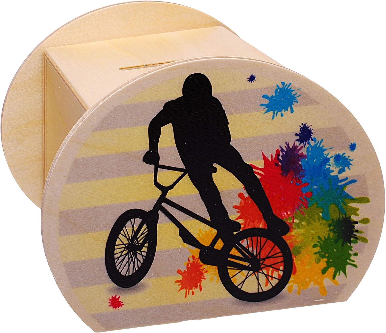 Schl/üssel /& Schlo/ß inkl abschlie/ßbar Perso.. 11,5 cm E-Bike gro/ß Sparschwein Fahrrad // Trial BMX Bike Sparb/üchse Name stabile Spardose alles-meine.de GmbH Holz