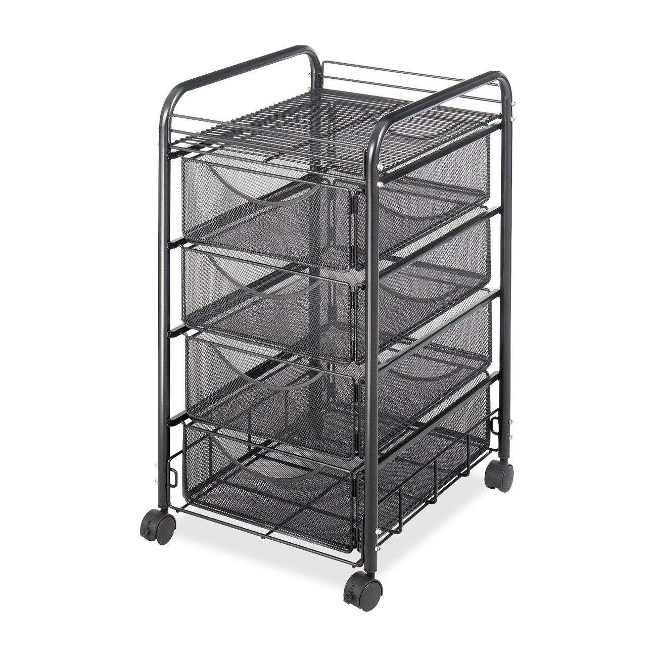 Safco Products Onyx Mesh 4 Drawer Rolling File Cart 5214BL, Black Powder Coat Finish, Durable Steel Mesh Construction, Swivel Wheels For Mobility (Renewed)