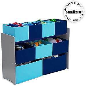 Delta Children Deluxe Multi-Bin Toy Organizer with Storage Bins , Grey/Blue
