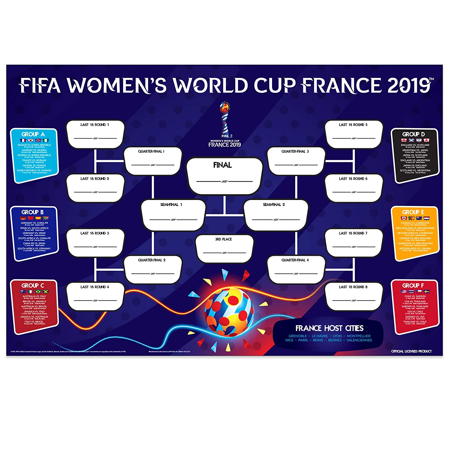 photo relating to Women's World Cup Bracket Printable named FIFA Womens Environment Cup 2019 The Formal Wallchart