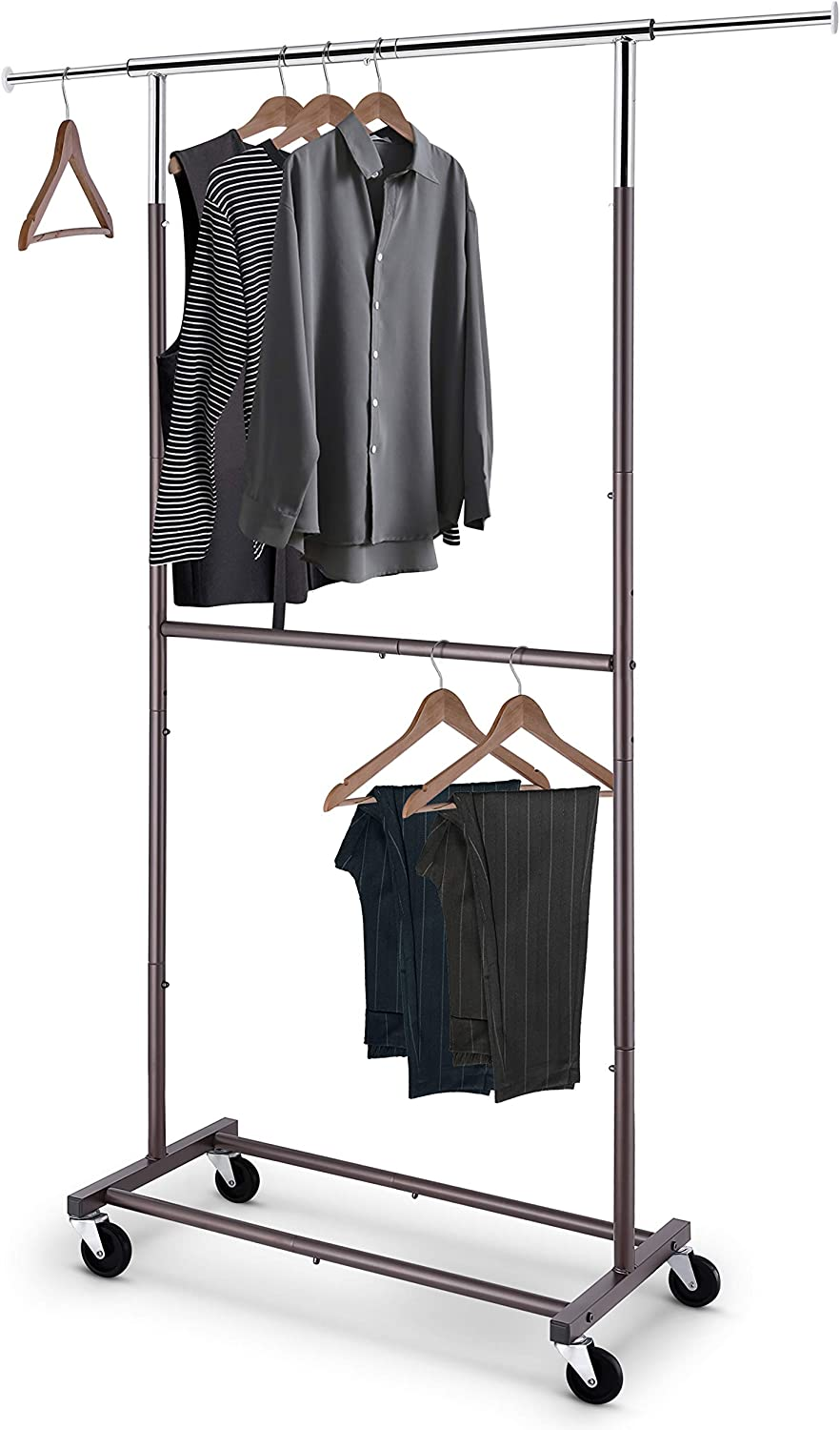 Holds up to 300 lbs Simple Trending Double Rail Clothes Garment Rack Heavy Duty Commercial Grade Clothing Rolling Rack on Wheels and Bottom Shelves Bronze