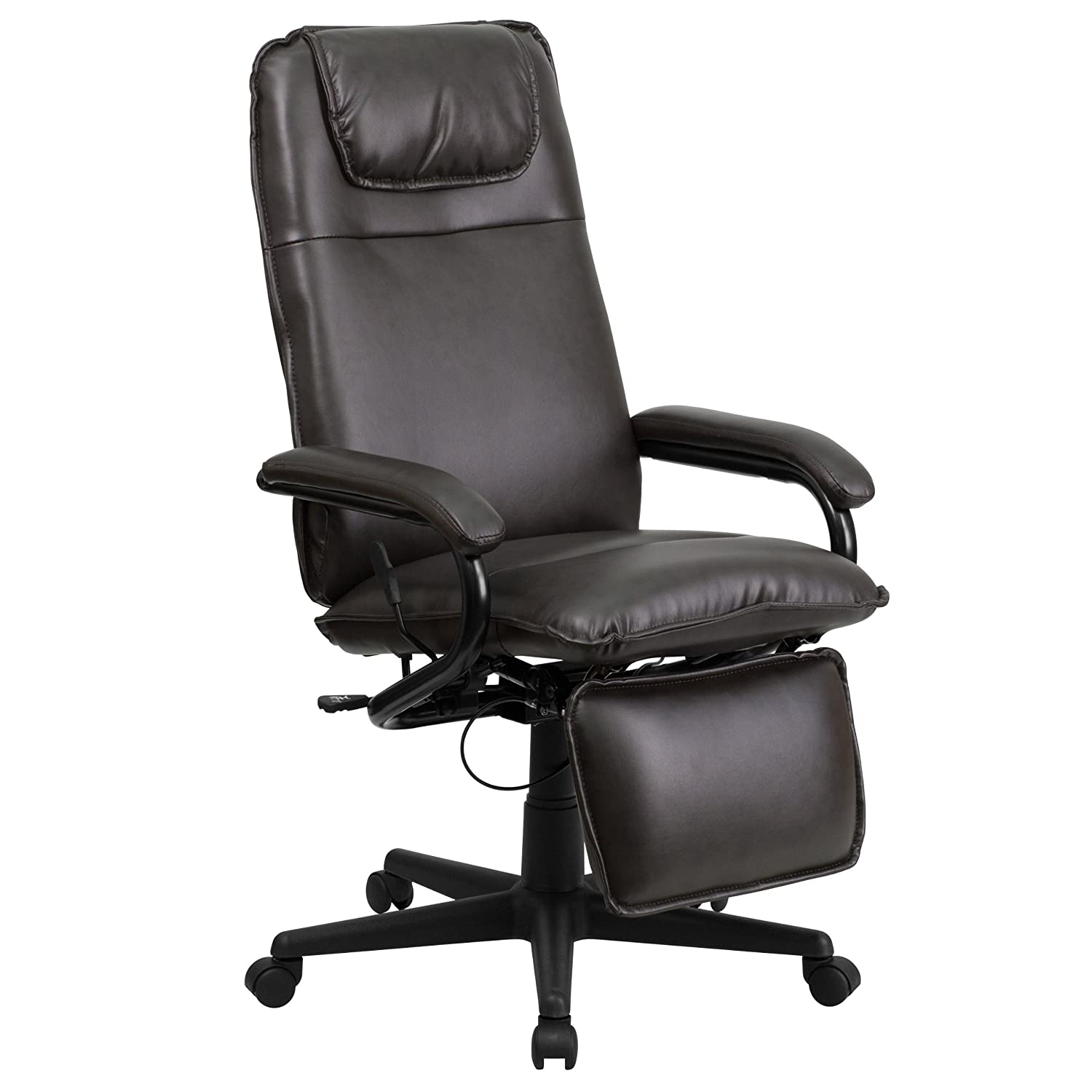Brown Flash Furniture High Back Black Leather Executive Reclining Swivel Chair with Arms