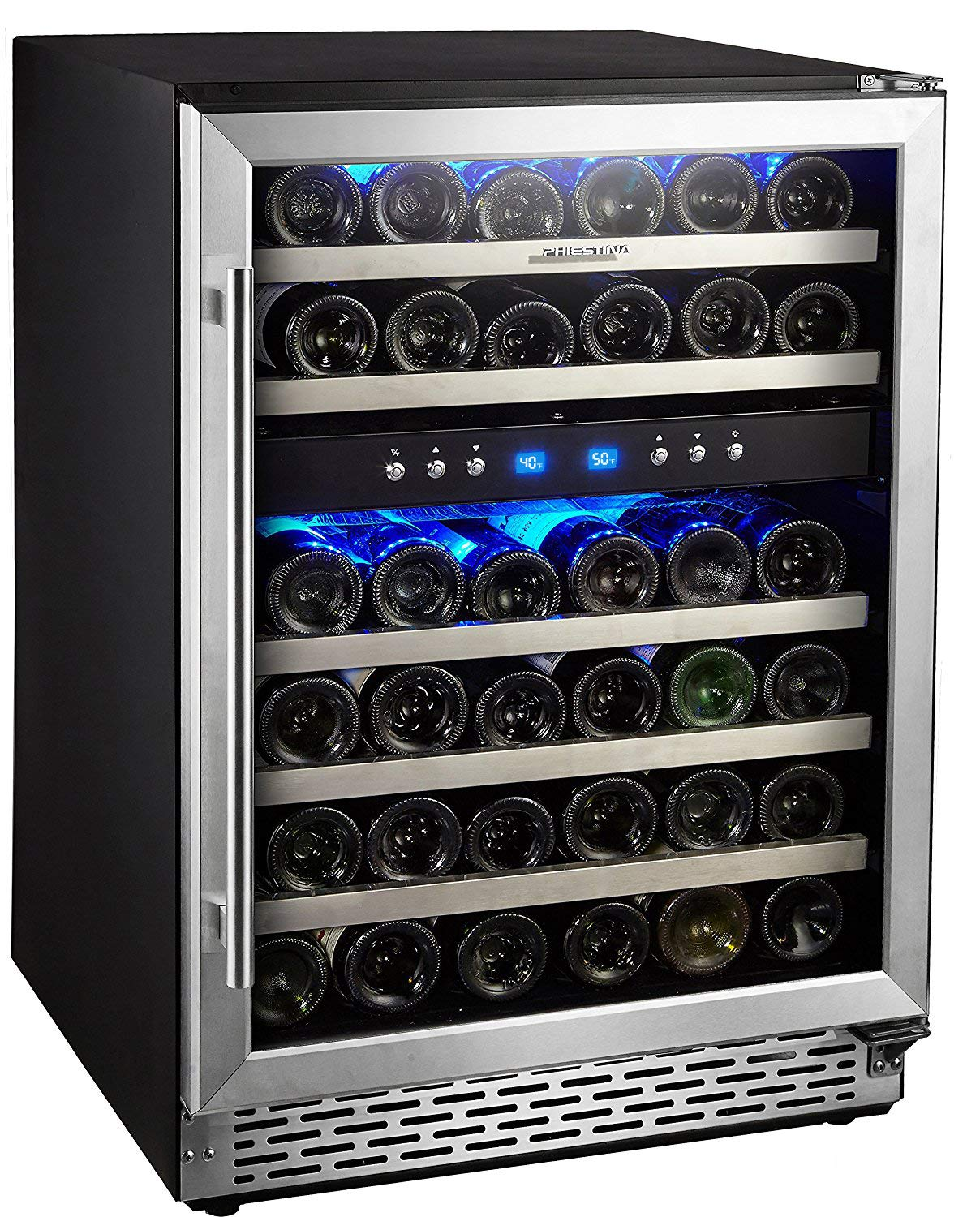 Phiestina 46 Bottle Wine cooler 24 Inch Dual Zone Built-In or Freestanding Wine Refrigerator with Compressor Cooling System by Phiestina